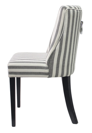 Ophelia Dining Chair Black And White Thin Stripe - decorstore
