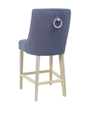 Ophelia Barstool Navy Blue With Chrome Ring 49Cm X 61Cm X 105Cmh - decorstore