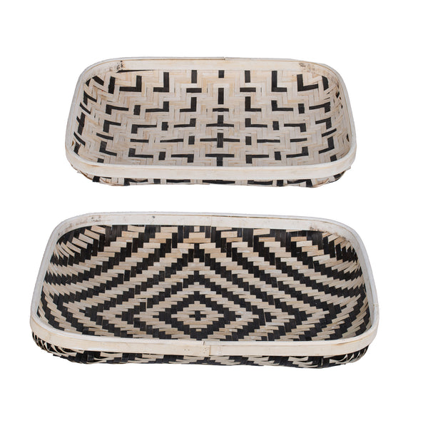 Set/2 Black And White Shallow Basket - decorstore