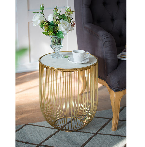 INVERTED DOME MARBLE SIDE TABLE - decorstore