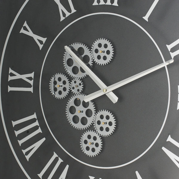 SILVER BLACK SQUARE CLOCK - decorstore