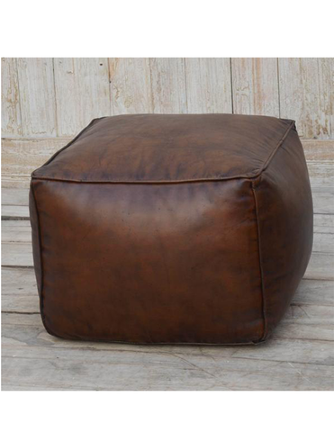 Vintage Brown Leather Square Ottoman - decorstore