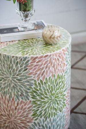 Floral shell inlay side table/Stool - decorstore