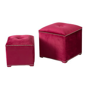 Plush square foot stool set - decorstore