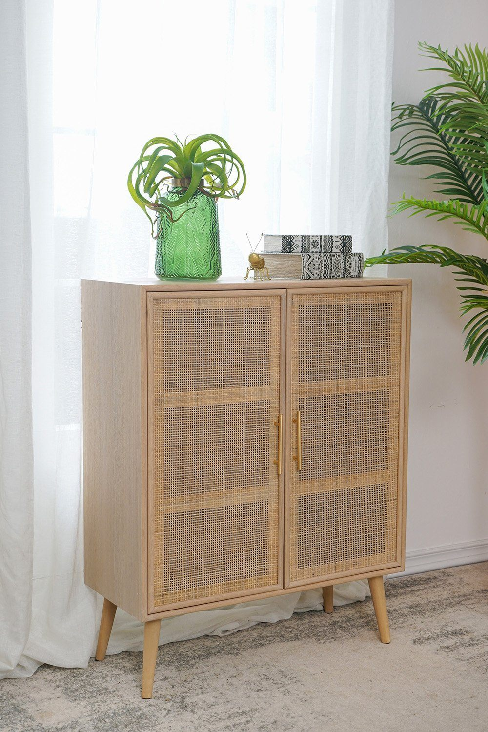 Double Door Rattan Cabinet - decorstore