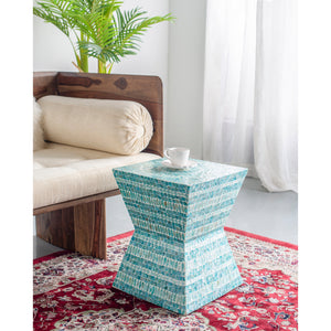 Geometric blue shell inlay stool/Side table - decorstore