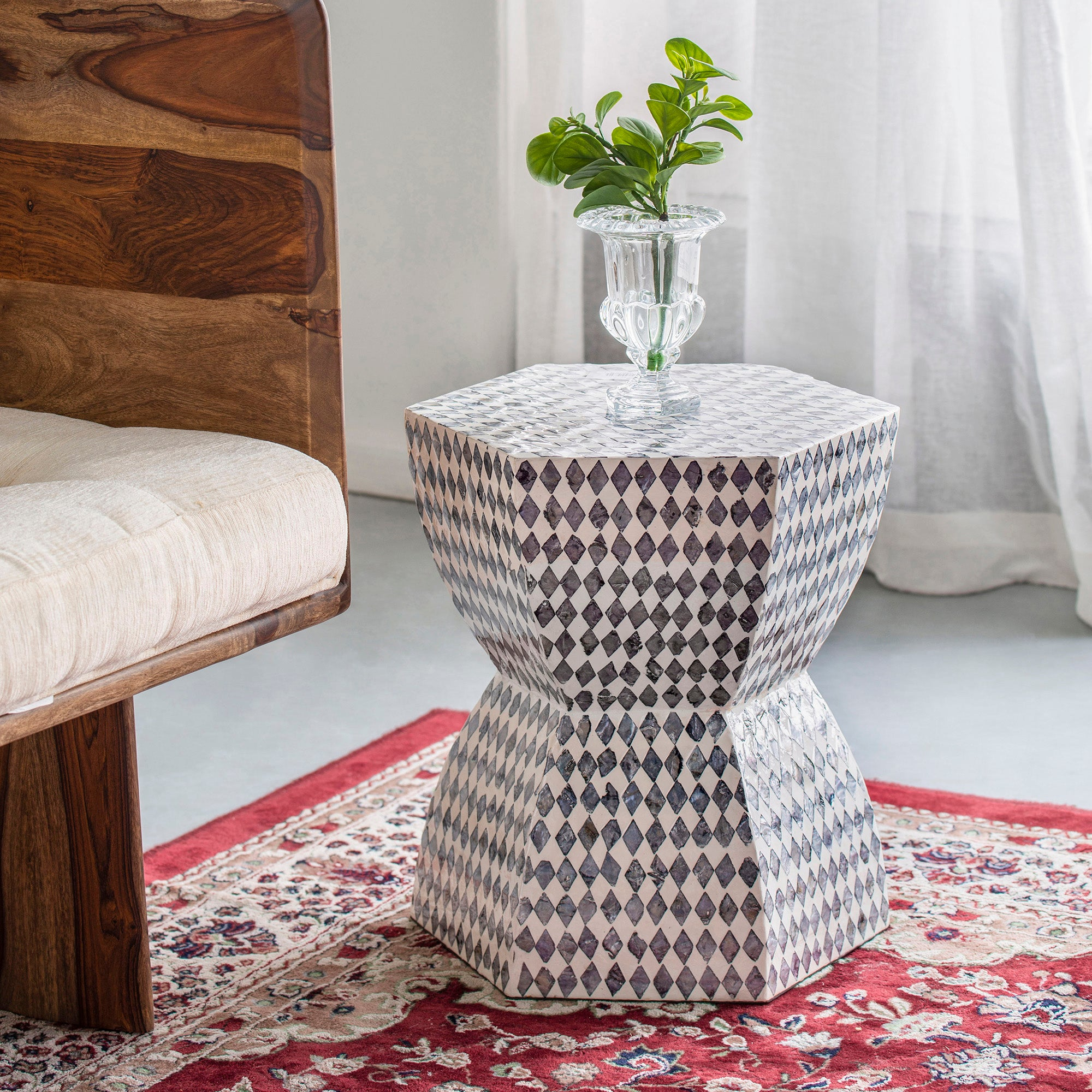 Black diamond shell inlay stool/Side table - decorstore