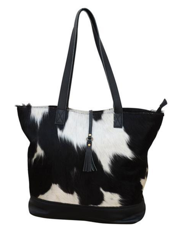 DARK COWHIDE U-SHAPE HANDBAG - decorstore