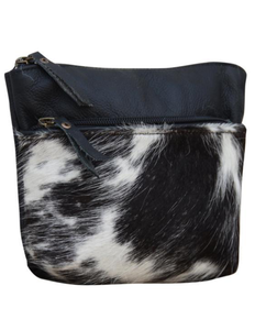 DARK COWHIDE POUCH CLUTCH BAG - decorstore