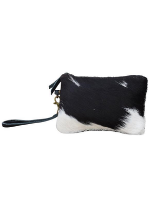ON SALE Small Dark Cowhide Zip Clutch Bag - decorstore