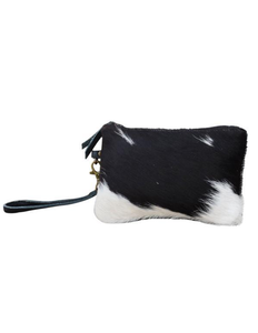 Small Dark Cowhide Zip Clutch Bag - decorstore
