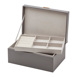 Rosalie Charcoal Grey Large Jewellery Box - decorstore