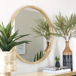 Crystal 60Cm Light Solid Wood Mirror - decorstore