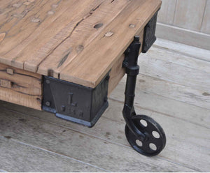 Industrial Wheeled Coffee Table - decorstore