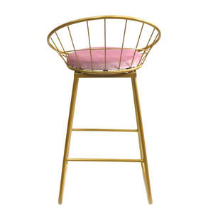Gold Basket kitchen bench height stool Pink - decorstore