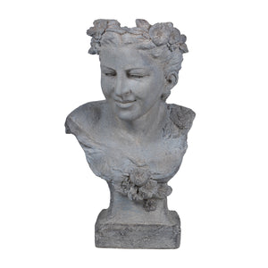 Floral female bust sculpture planter - decorstore