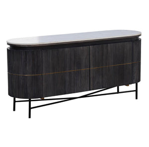 The Oval Bar Marble Top Hardwood Handmade Sideboard - decorstore