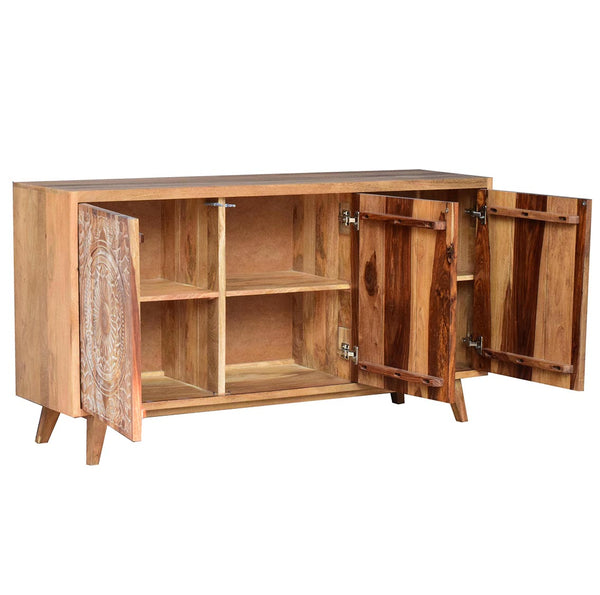 Engraved Flower Hand Crafted Hardwood Sideboard - decorstore