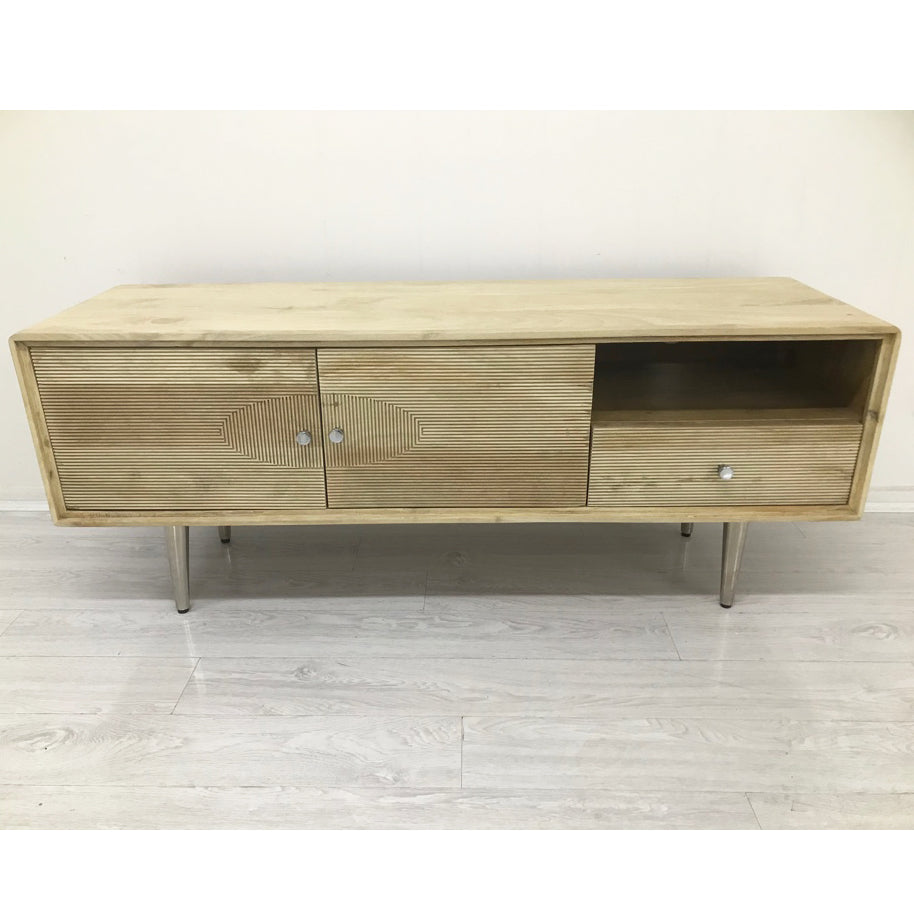 Retro Grooved Hand-Crafted Hardwood Entertainment Unit