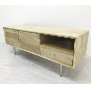 Retro Grooved Hand-Crafted Hardwood Entertainment Unit - decorstore