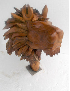 Akar Jati Sculptured Lions Head - decorstore