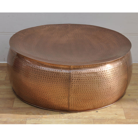 Bronze Look Drum Coffee Table - decorstore