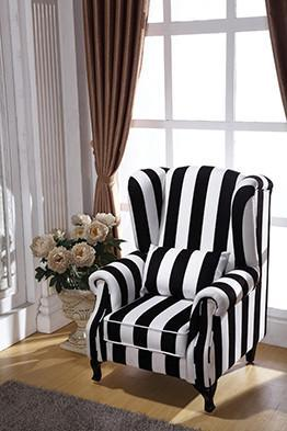 LARGE STRIPED MONOCHROME ARM CHAIR - decorstore