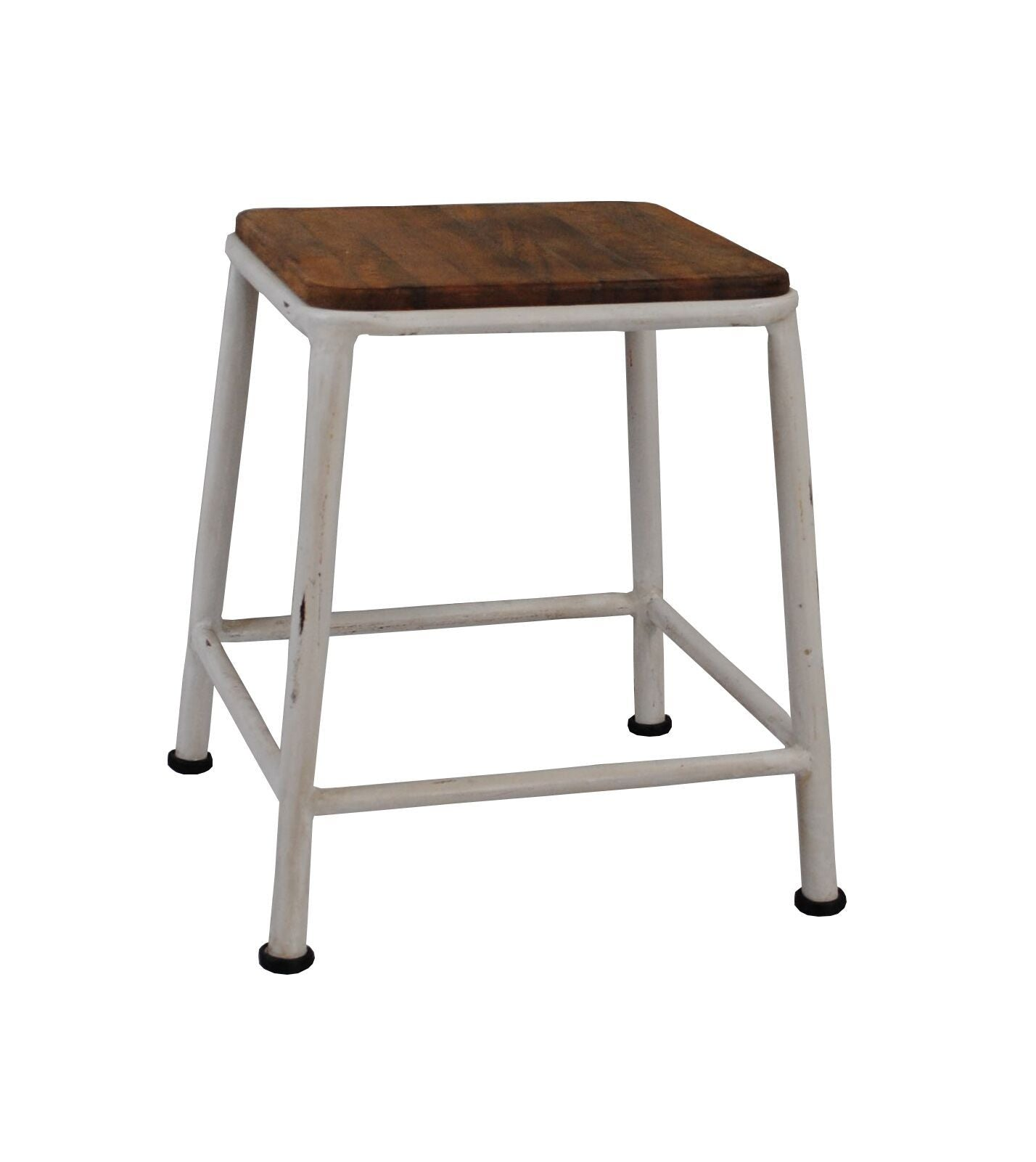Long Head Stool-White & Rusty-Wood On Top - decorstore