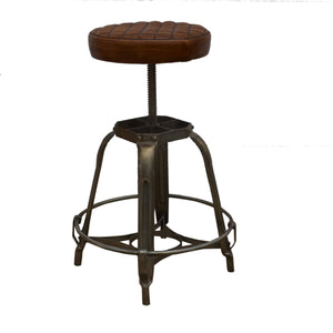 Brown Waffled Leather Industrial Bar Stool - decorstore