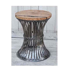 HOURGLASS WOOD AND IRON STOOL - decorstore