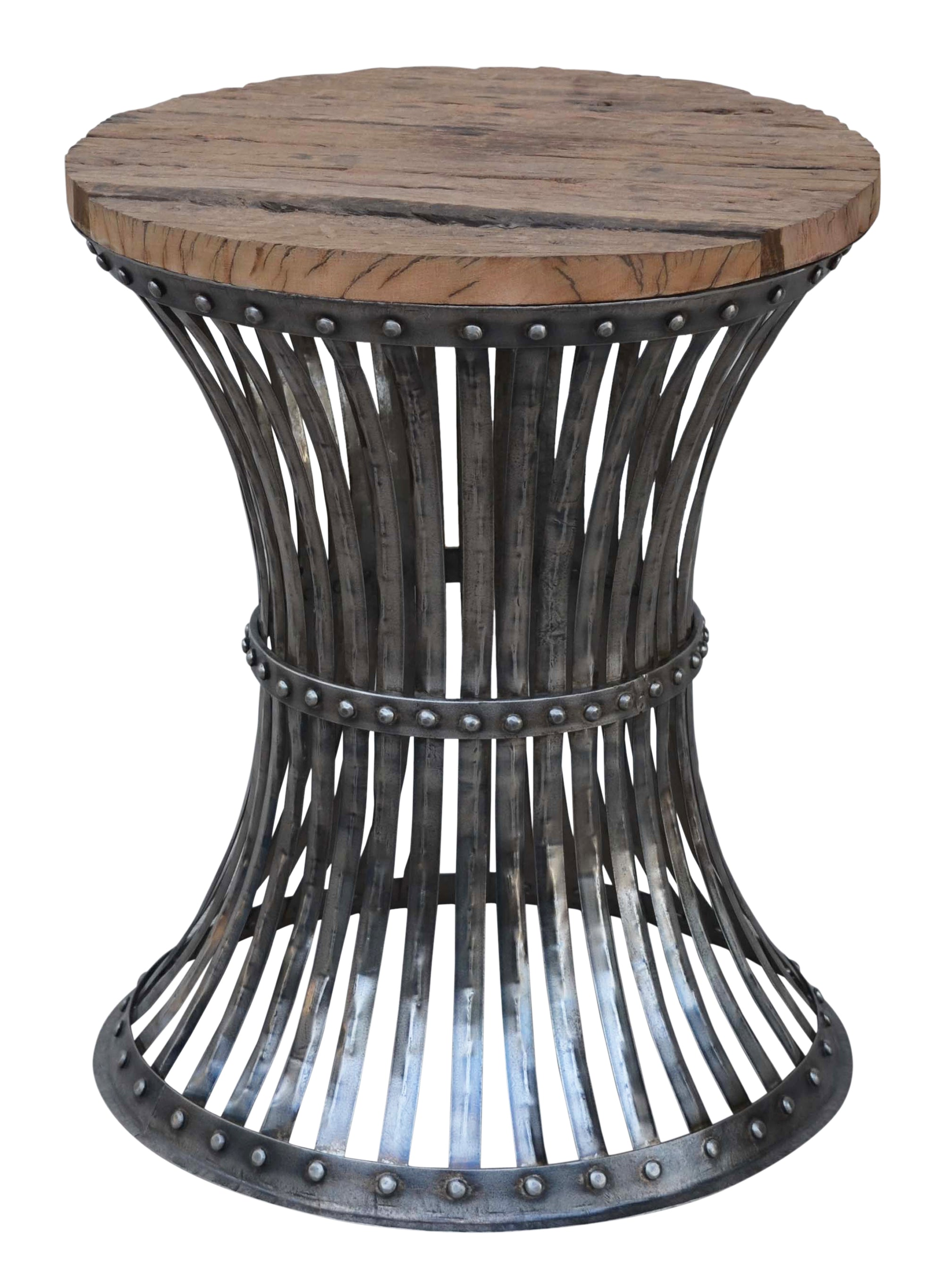 Hourglass Wood And Iron Side Table - decorstore
