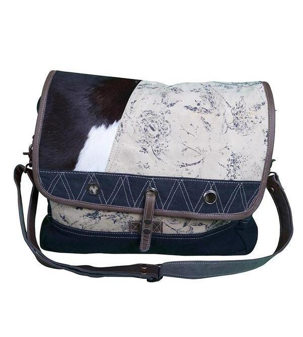 COWHIDE CANVAS PATCH SATCHEL - decorstore