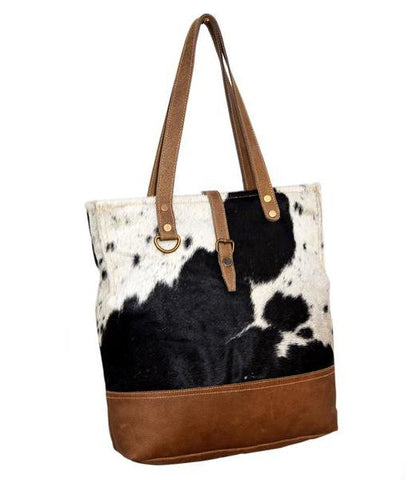 COWHIDE AND LEATHER BELTED HAND BAG - decorstore