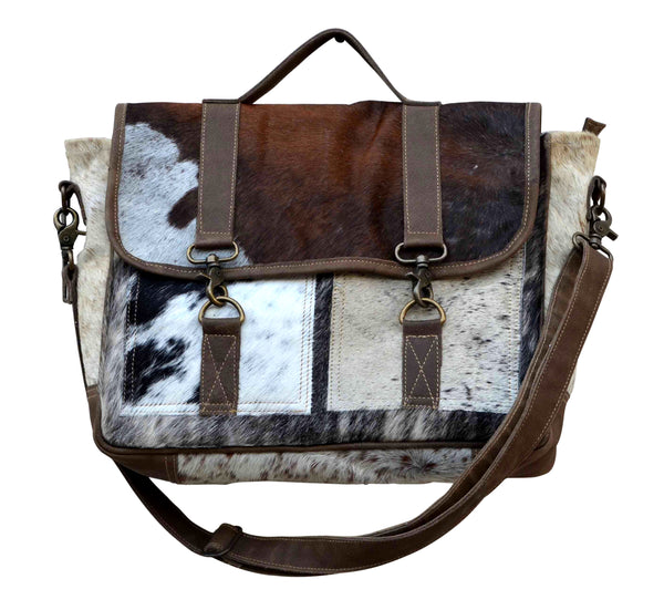 Cowhide And Leather Messenger Bag - decorstore