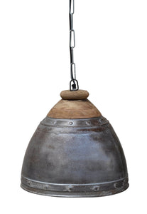 WASHED IRON AND WOOD LAMPSHADE - decorstore