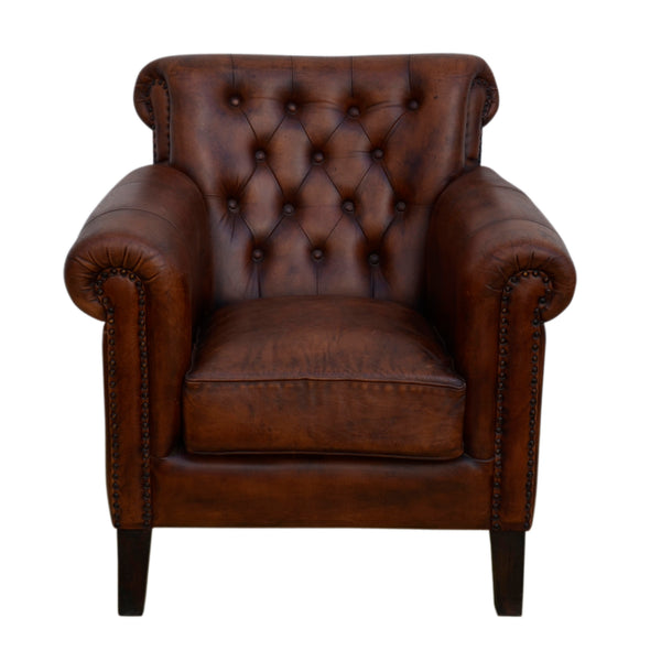 Studded Brown Leather Armchair - decorstore