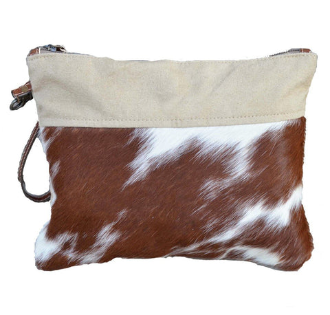Beige Cowhide Zip Clutch Bag - decorstore