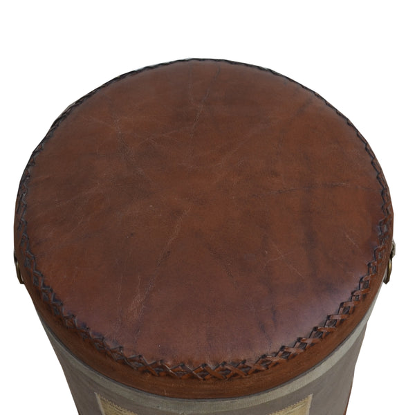 French Vintage Leather Top Ottoman - decorstore