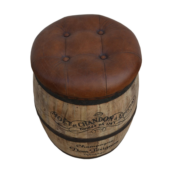 French Vintage Champagne Leather Top Ottoman - decorstore