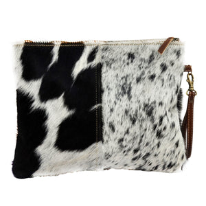 Dark Brown Cowhide Zip Clutch Bag - decorstore
