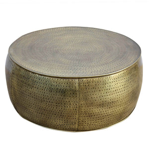 Brass Look Drum Coffee Table - decorstore