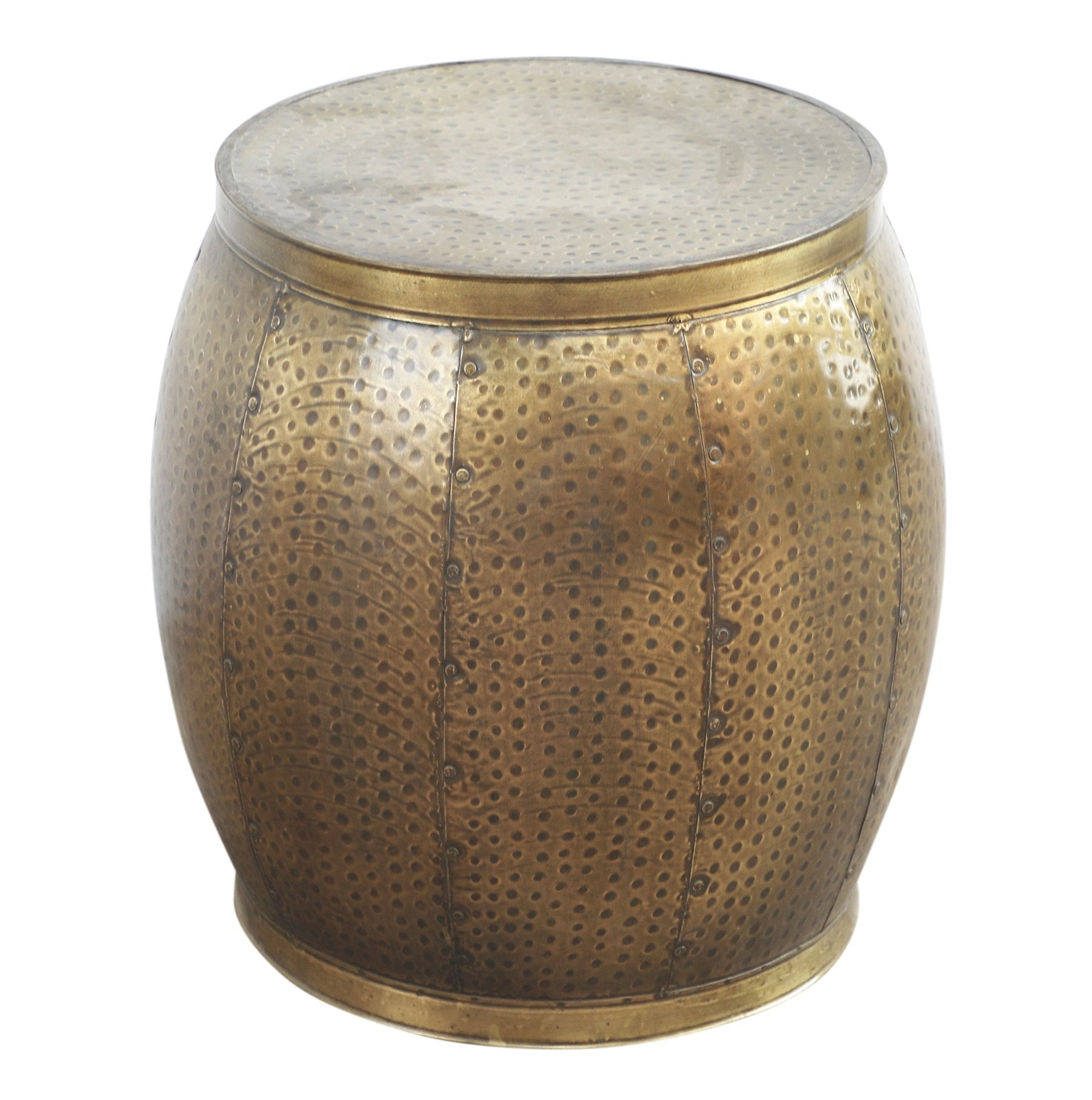Brass Look Drum Side Table - decorstore