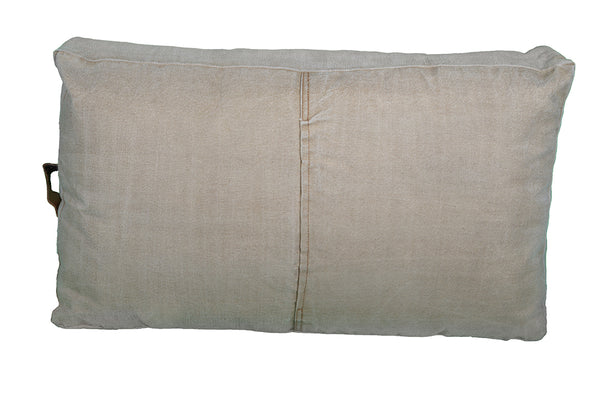 Large Leather Canvas Polo Cushion - decorstore