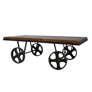 Industrial Coffee Table  On Wheels - decorstore