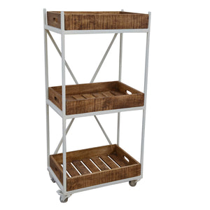 White Wooden Industrial Shelving on Wheels - decorstore