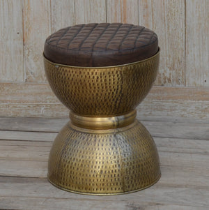 Waffled Hourglass Drum Stool - decorstore