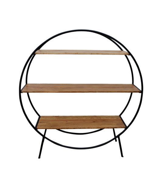 Circular Iron And Timber Bookcase - decorstore