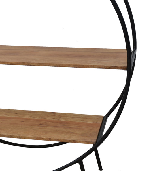Circular Iron And Timber Bookcase