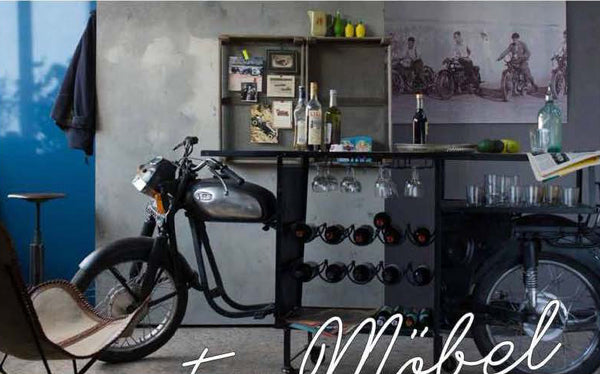 Old School Black Motorbike Bar - decorstore