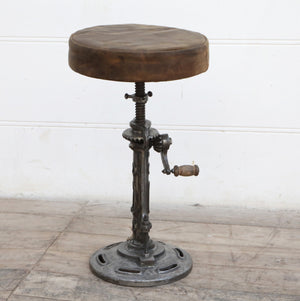Old World Leather Windup Stool - decorstore